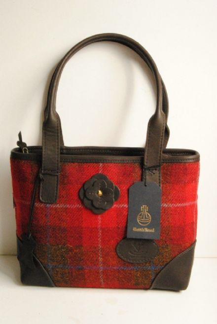Scalpay Deer Leather and Harris Tweed Bag Red